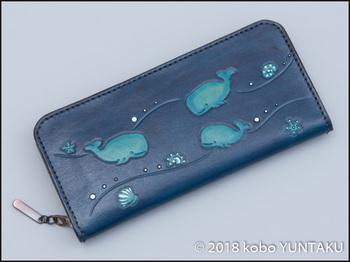 牛革の作品「マッコウクジラ(抹香鯨)の長財布」