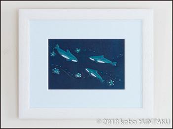 革の額絵 海の生き物「イルカ」