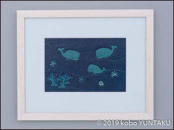革絵 海の生き物「マッコウクジラ」