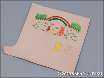 牛革の作品「虹と猫の長財布」
