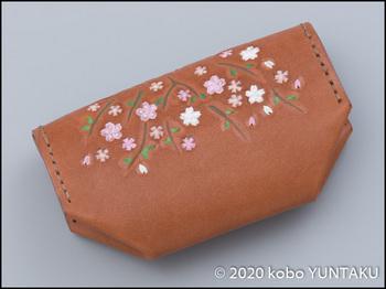 栃木レザー「桜の小物入れ」